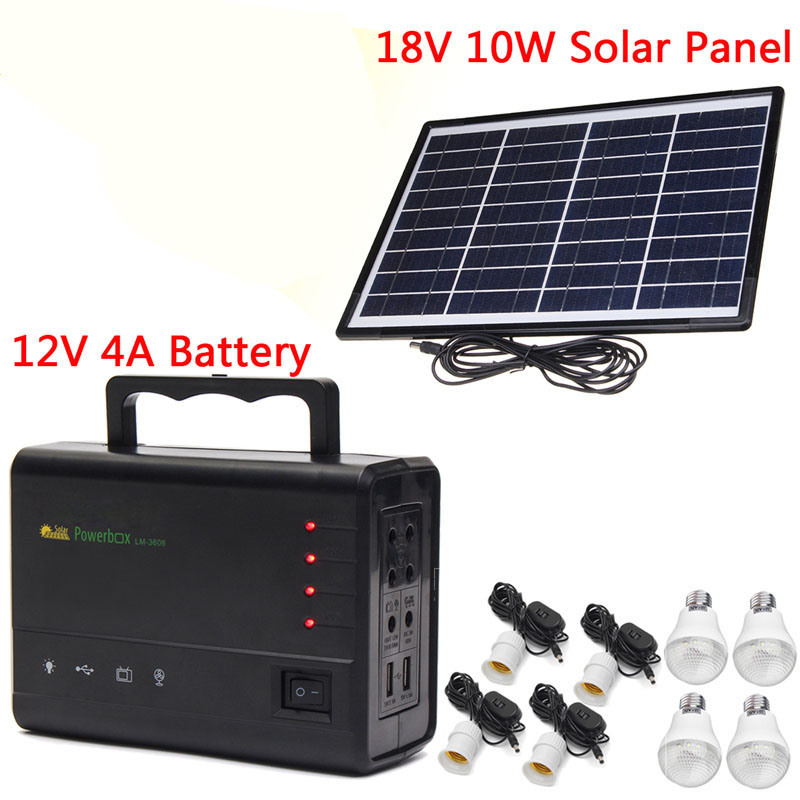 New Portable Solar Panels Charging Generator Power System Home Outdoor Lighting With Blub Gift Portable Power generation