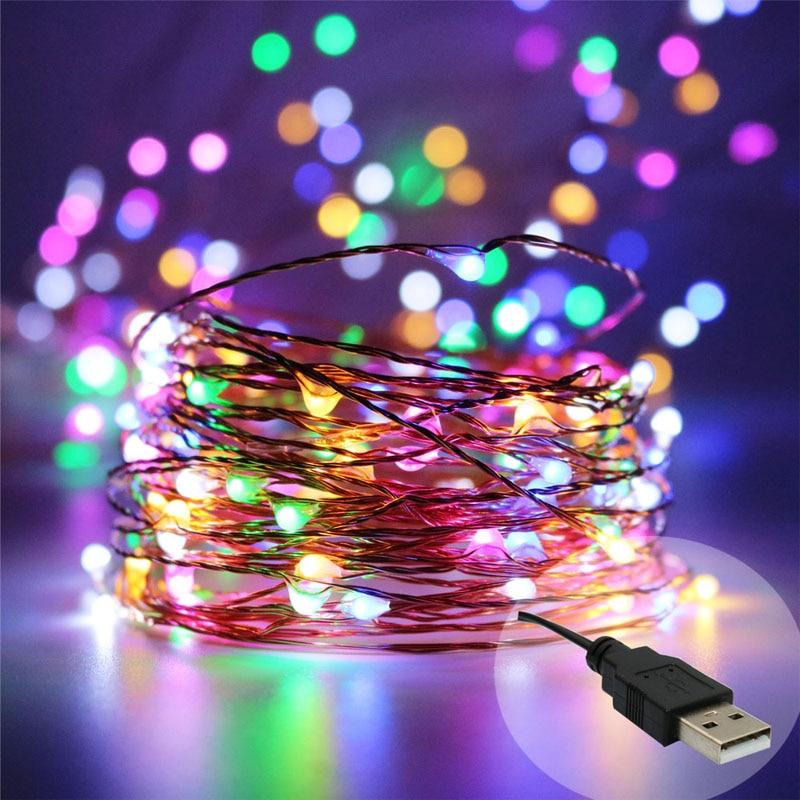 2x39ft 100LED USB 5V жылы ақ түсті, көп түсті - Мерекелік жарықтандыру - фото 1
