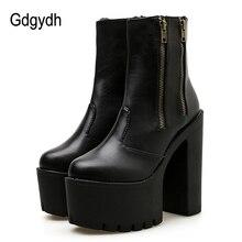 Gdgydh 2019 Kadın Ayak Bileği Deri Çizmeler Ultra Yüksek Platform Topuklu Siyah Yüksek Topuklu kadın ayakkabısı Kauçuk Taban Fermuar rahat ayakkabılar