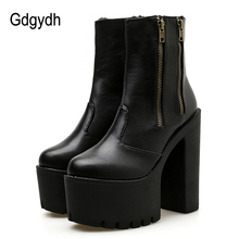 Gdgydh 2019 Women Ankle Leather Boots Ultra High Platform Heels Black High Heels Female Shoes Rubber Sole Zipper Casual Shoes цены
