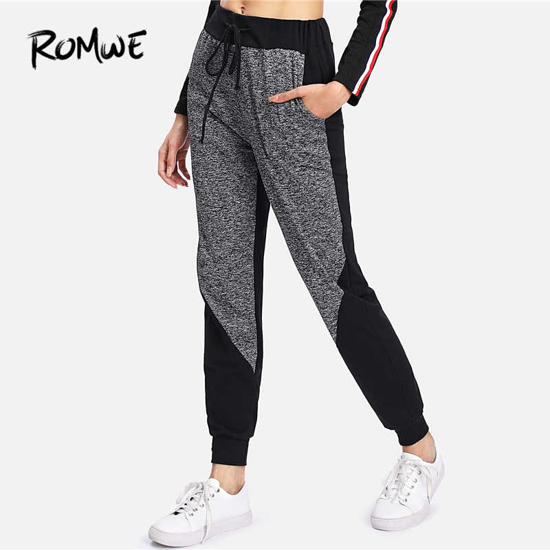 54a0a4178696 Romwe Sport Grey Drawstring Mid Waist Fitness Jogging Pants Women Gym  Exercise Running Sports Workout Autumn