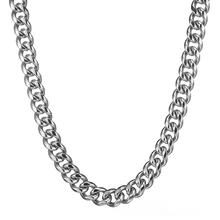 Granny Chic Fashion Silver 316L Stainless Steel 15mm Heavy Curb Mens Cuban Chain Necklace jewelry 7-40