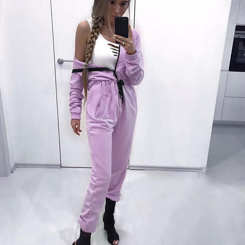 Sports And Leisure Hooded One-piece Yoga Suit Light Purple Autumn And Winter Comfortable Accept Wholesale