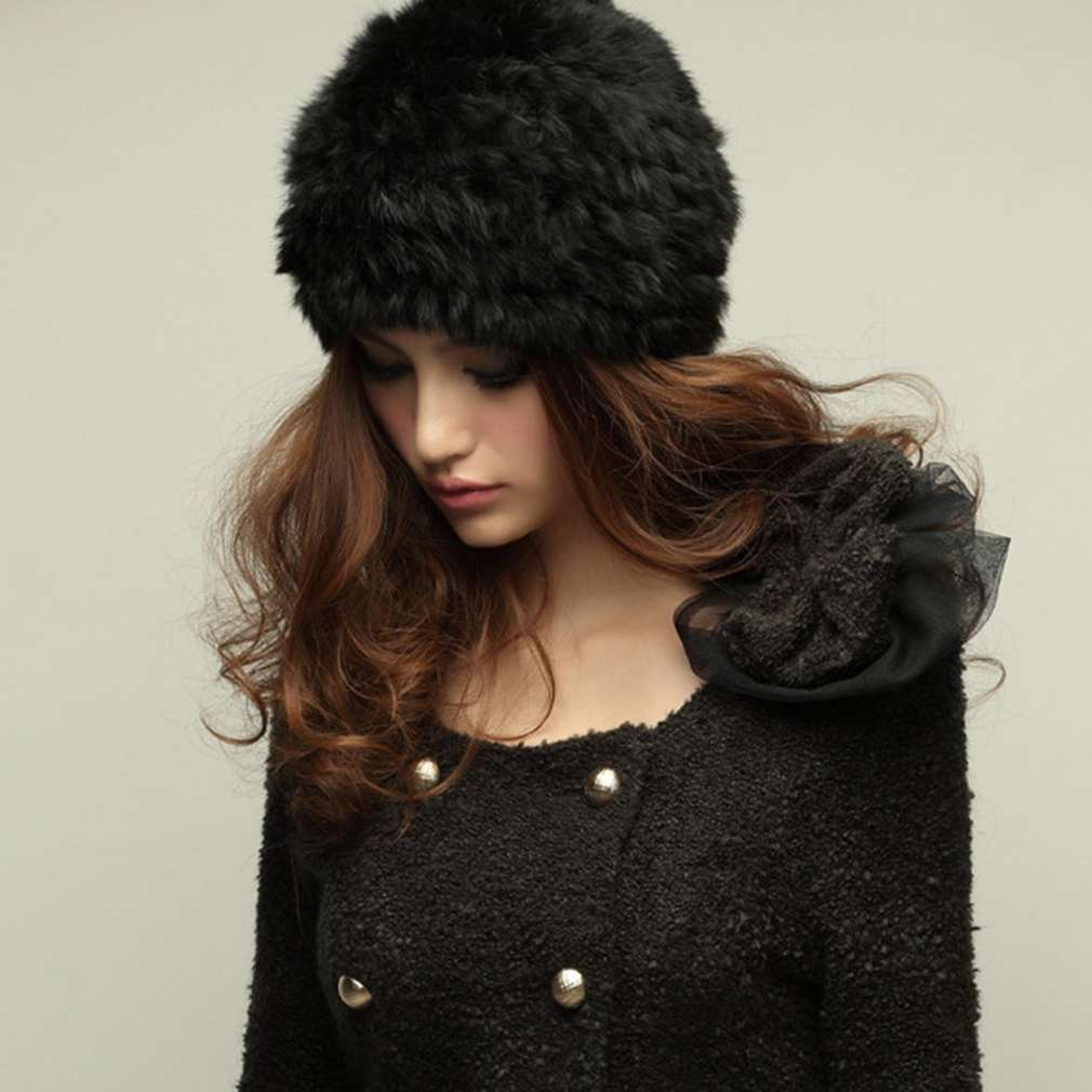 Women Rabbit Fur Knitted Cap Ladies Knitting wool  Fur Casual beanies caps cute Girls cap winter thick warm hats Russian Style wuhaobo the new arrival of the cashmere knitting wool ladies hat winter warm fashion cap silver flower diamond women caps