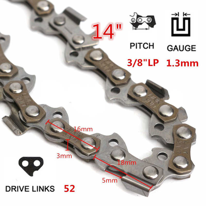 14'' Chainsaw Chain Blade Wood Cutting Chainsaw Parts 50-52 Drive Links 3/8 Pitch Chainsaw Saw Mill Chain