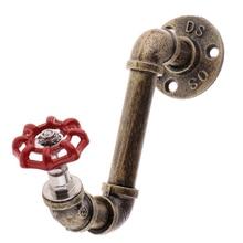 Vintage estilo Industrial tubería de hierro montado en la pared estante abrigo ganchos perchas estante abrigo con tornillos