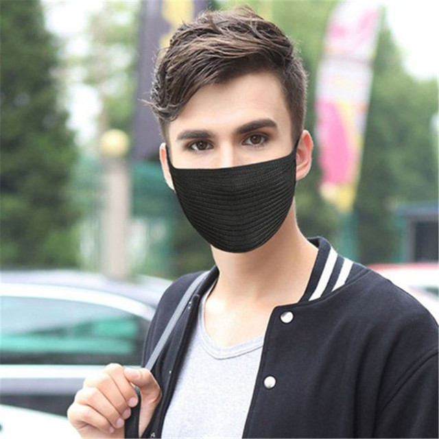 1Pcs Fashion Autumn Winter Warm Mouth Masks For Women Men Unisex Solid Black Fine Wool Windproof  Cycling Outdoor Face Masks 1