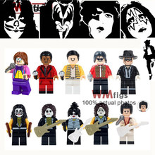 Single Kiss Band Legoings Guitar Tommy Thayer Paul Stanley Gene Simmons Freddie Mercury Building Block Toys for Children Gift(China)