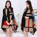 2016 Autumn Winter Women Long Poncho Patchwork Shawl Women's Scarves Red Plaid Design