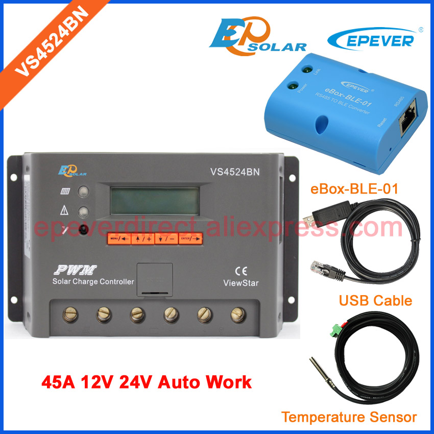 45A 12V 24V Auto Work PWM controller for solar panels system home VS4524BN USB cable connector and Temp sensor BLE BOX45A 12V 24V Auto Work PWM controller for solar panels system home VS4524BN USB cable connector and Temp sensor BLE BOX