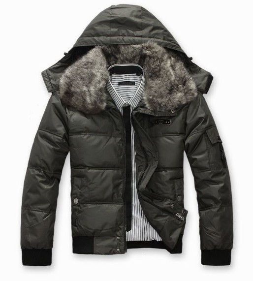 ФОТО HIGH QUALITY 1.2kg Winter short design detachable fur collar wadded jacket men's winter jackets for  men fur coat no.65