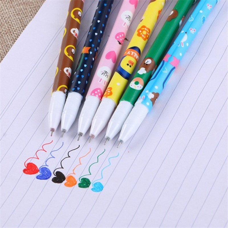 Mini 6Pcs/Set Gel Pen Cute Kawaii Colored Ink Pencils 0.38mm Colorful Kids Girls Boys Signing Office School Stationery Supplies