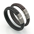 New Brand Vintage Men Bracelets & Bangles Punk Handmade 12mm Wide Cuff Leather Bracelet Woven Wristband Bangles For Men Jewelry