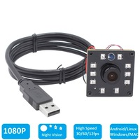 1080P CMOS OV2710 30 60 120fps Wide Angle Night Vision IR CUT Infrared Board USB Webcam