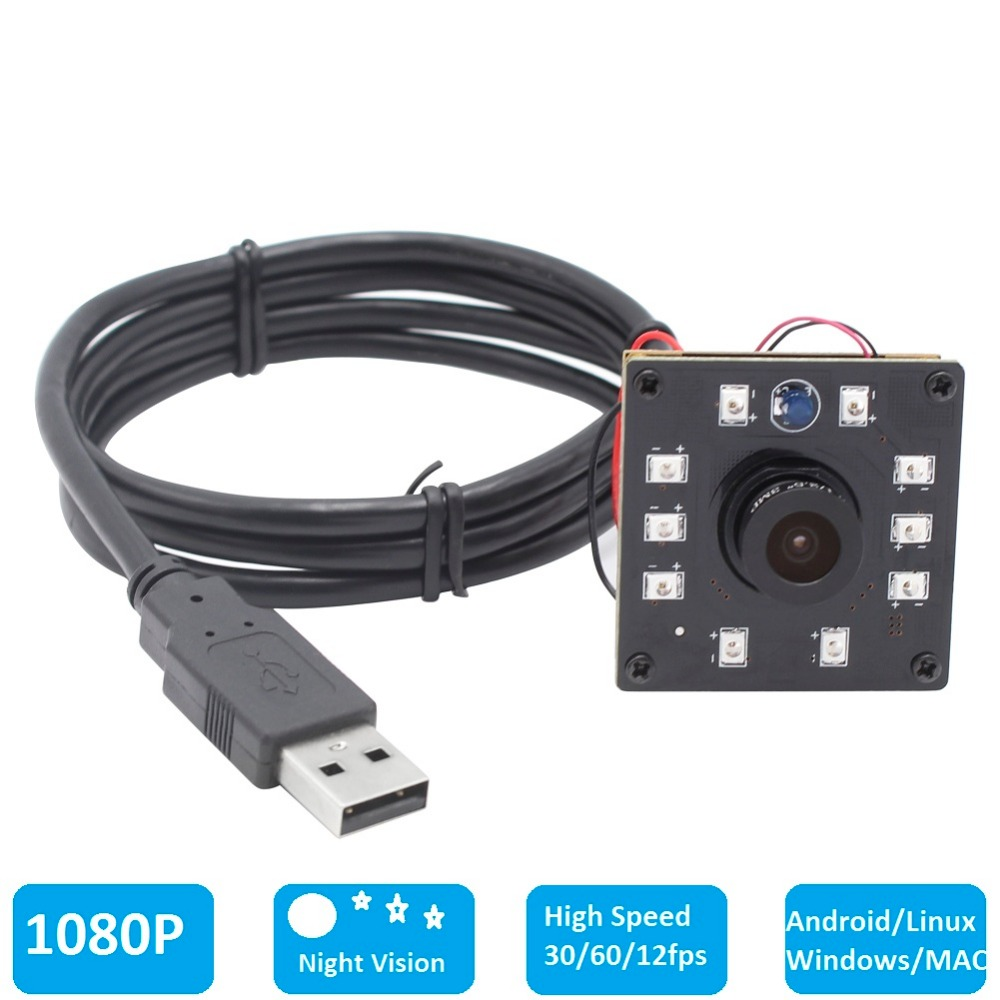 1080P CMOS OV2710 30/60/120fps Wide Angle Night Vision IR CUT Infrared Board USB Webcam Camera Module for Android Linux Windows elp high speed 2mp cmos ov2710 module wide view angle fisheye uvc android linux ir led board night vision hd usb camera 1080p