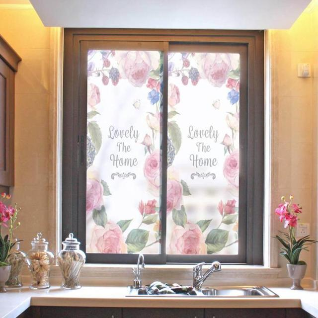 Self Adhesive Frosted Glass Stickers 58x90cm Flamingos Window For Bathroom Door Bath Shutters Art