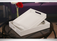 Europe white color woode+PU leather serving tray home decoration tray hotel fruit snack desk food dish tray dessert tray PTP05