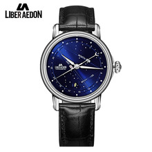Liber Aedon Leather Band Mens Watch Business Quartz Top Brand Luxury Men Wrist Watch Casual Gift Men's Watch Relogio Masculino