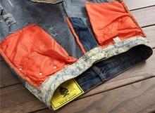 European American Style 2017 marque de mode de luxe coton Hommes casual denim jeans pantalons Droite bleu mince trou jeans pour hommes