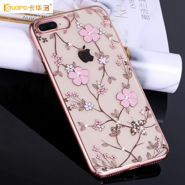 016640a44d KAVARO for iPhone 7 7 Plus 8 8 Plus Case Authorized Swarovski Rhinestones  Decor Honeybee Series Flower Plated PC Case Cover