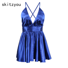 skitzyou Sexy Backless Deep V Neck Women Summer Casual Stain Playsuits Sleeveless Thin Loose Short