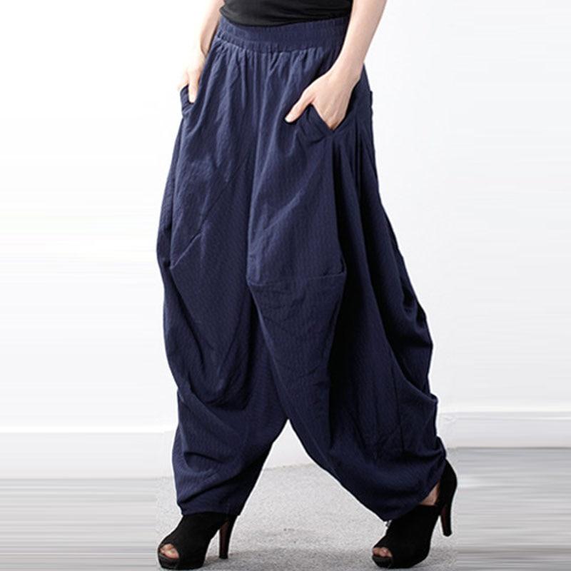 ZANZEA Autumn Women Elastic High Waist Solid Loose Lantern Pantalon Retro Baggy Drop-Crotch Trousers   Wide     Leg   Harem Cross-  Pants