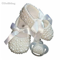 Christening Pearls Baby Shoes And Pacifier Set Pearls Baby Accessories Custom For Buyer Handmade Princess Keepsake