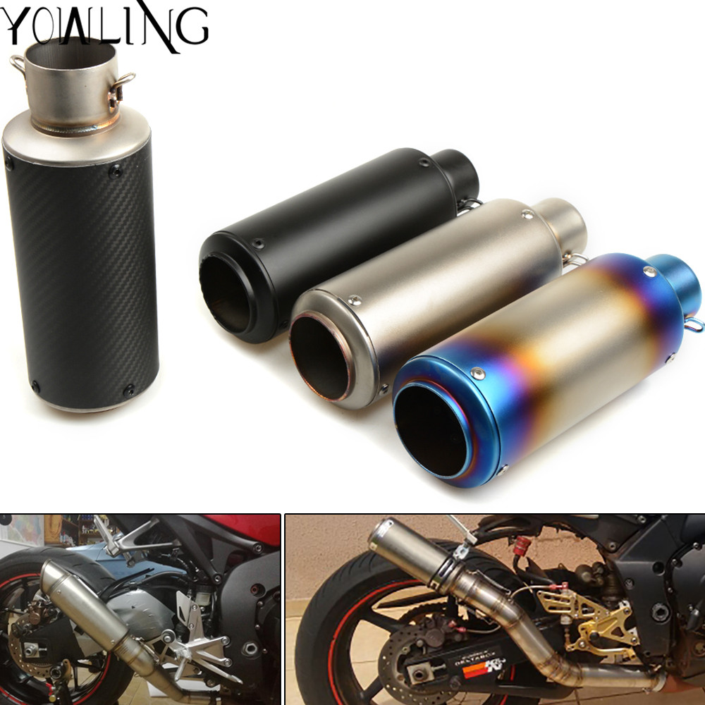 Universal Inlet 51mm 61mm Motorcycle Exhaust Pipe Muffler Carbon Fiber Motorbike Muffler Exhaust Escape DB Killer