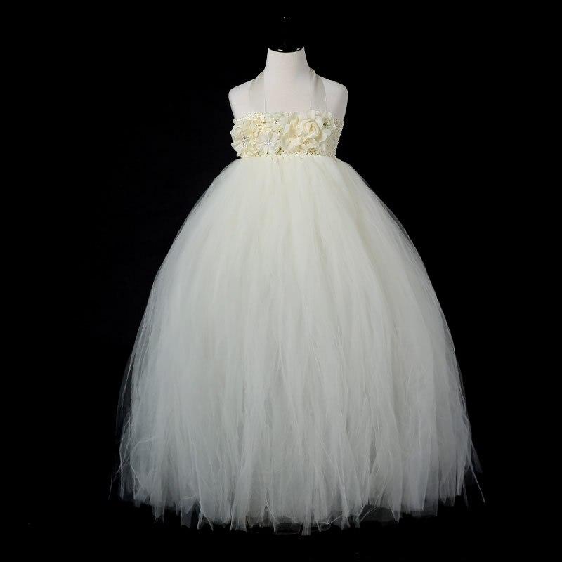 ФОТО 2017 Top quality European style Flower Girl Dresses White Flower 2-14Y Fashion Draped Ball Gown Evening Dress Children Birthday