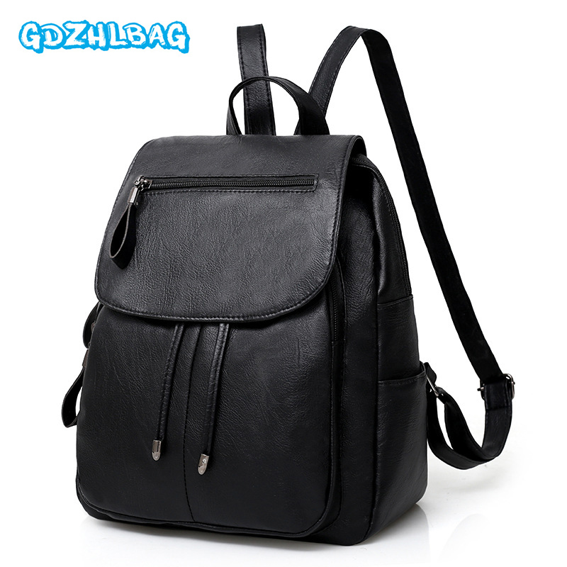 Women Backpack High Quality PU Leather Mochila Escolar School Bags For Teenagers Girls Top-handle Backpacks 2018 Lady's bagB285