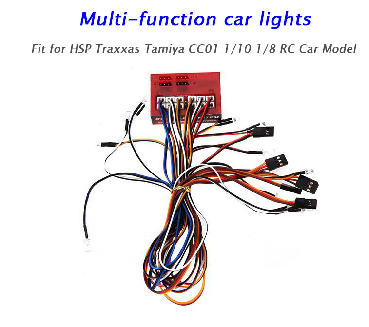 Free Shipping Car Lamps LED Lights Set for 1/10 1/8 HSP Traxxas TAMIYA CC01 Land Rover D90 Axial SCX10 RC Car Model
