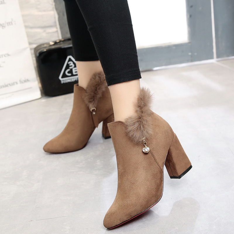 ФОТО 2017 new winter genuine leather + Rabbit Fur high-heeeld women ankle boots fashion red bottom thick heels warm martin boots