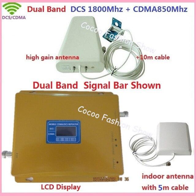 Mais novo Dual Band Mobile Phone Signal Repetidor 850 MHz 1800 MHz CDMA DCS Signal Booster Amplificador de Sinal de Telefone Celular com antenas