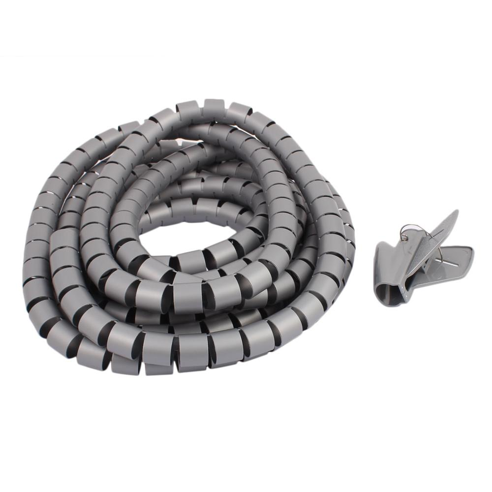 5M Length 25mm Dia Spiral Wire Organizer Wrap Tube Flexible Manage Cord for PC Computer Home Bundling Hiding Cable w Clip Grey 5m length black grey 15mm spiral wire organizer wrap tube flexible manage cord for pc computer home hiding cable with clip