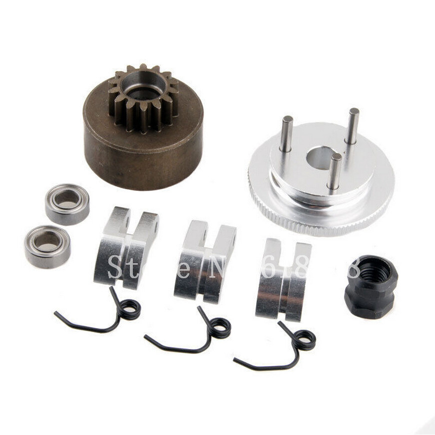 RC Clutch Bell 14T Gear Flywheel Assembly with Springs Bearings Shoe Sets For HSP 1:8 Buggy Upgrade Parts 81020 Nitro Engine 81020 clutch bell hsp 1 8th nitro car part 94081 94083