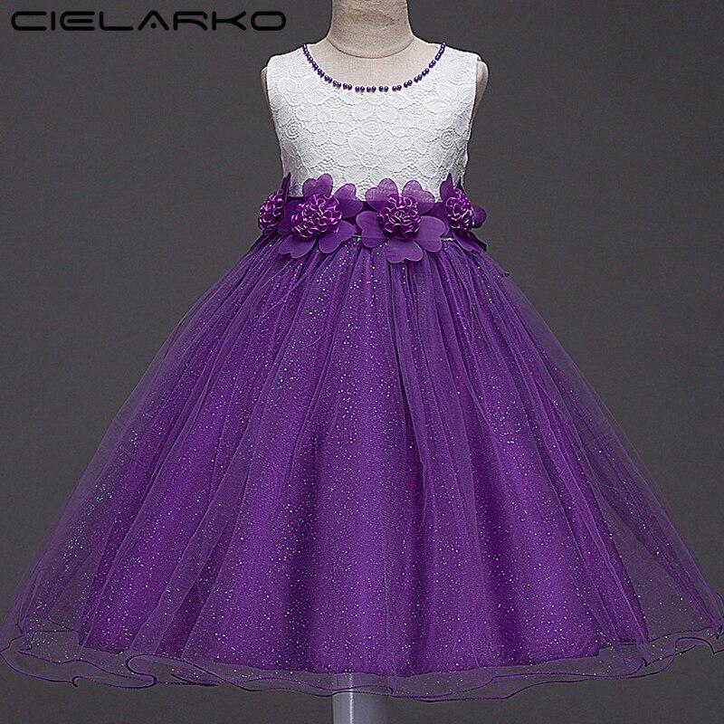 064404ba353 Cielarko Платье с цветочным рисунком для девочек блестящие детские  праздничные платья Пышные детские кружевные платья