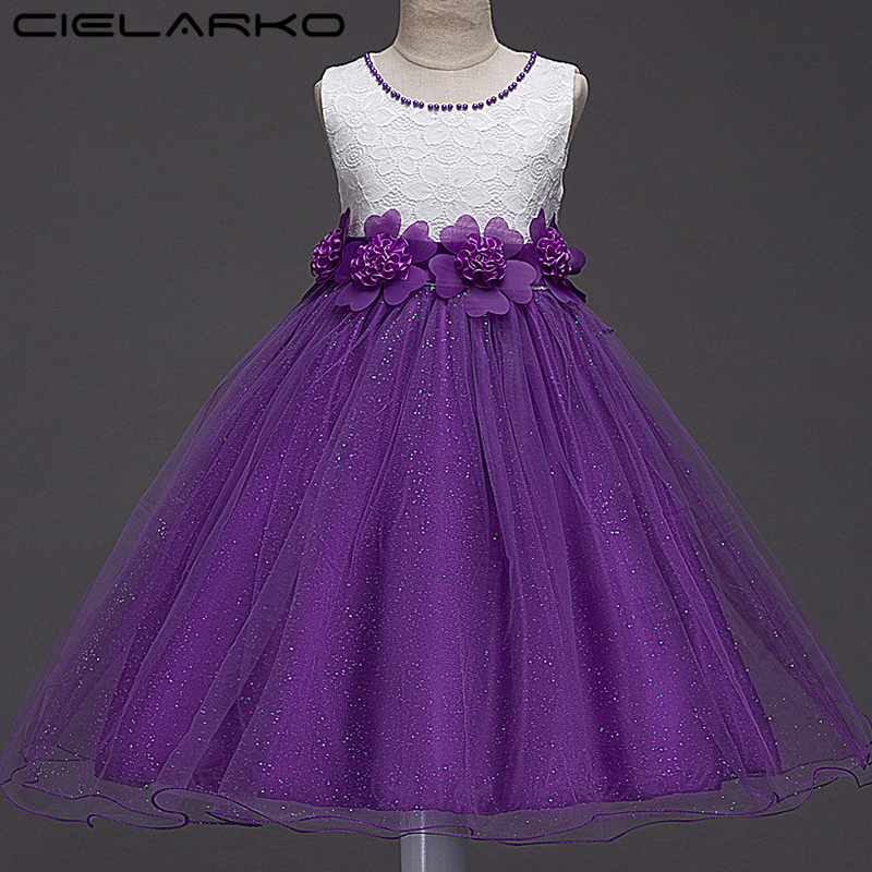 Cielarko Girls Flower Dress Shiny Kids Party Dresses Pageant Children Lace Frocks Baby Birthday Ball Gowns Clothing for Girl цены онлайн