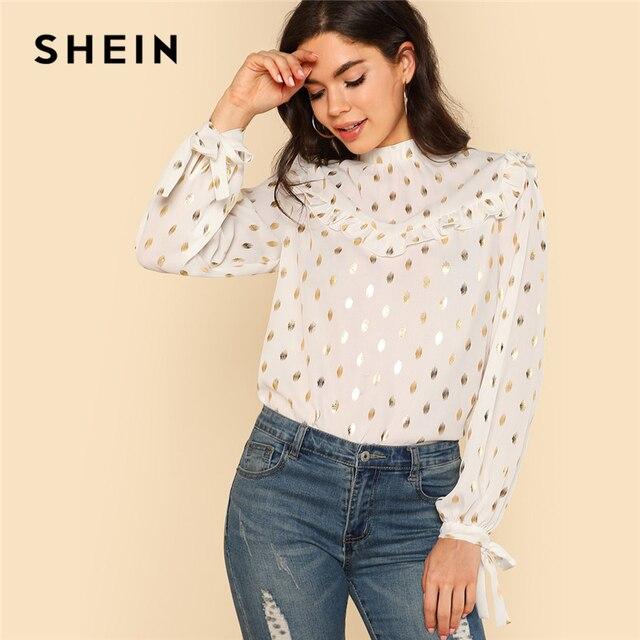 Шеин 2018 весенние женские топы и блузки с длинным рукавом и стоячим воротником с оборкой блузка с завязкой сзади и манжеты золото в горошек топ с принтом