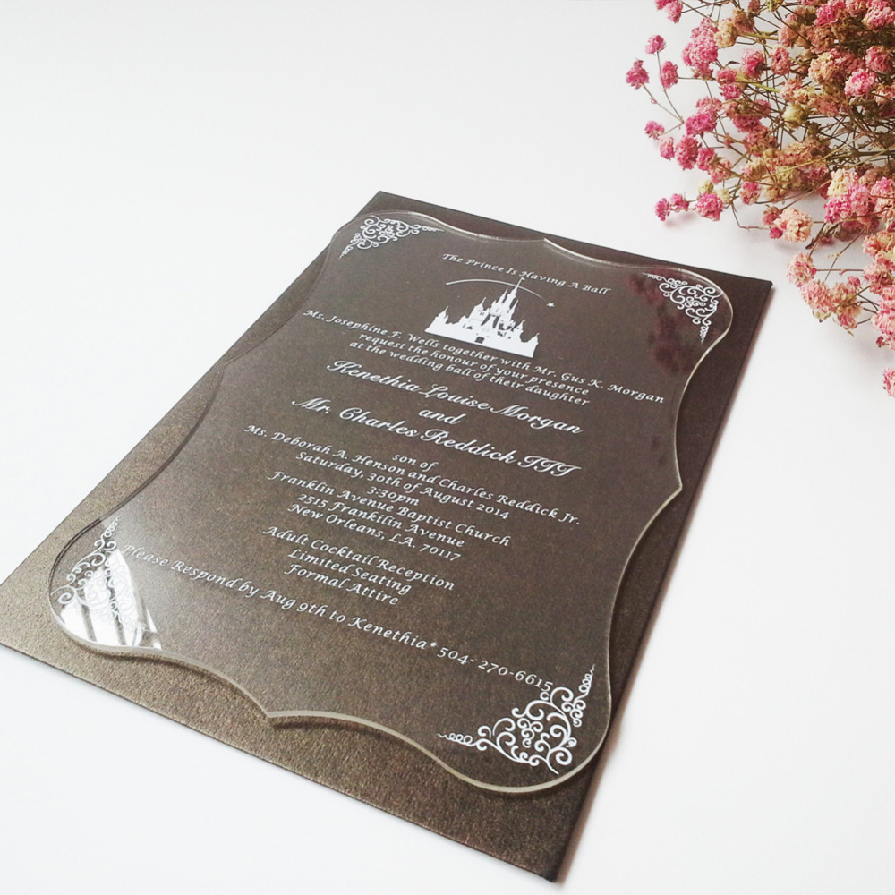 Sample order for  Clear acrylic wedding invitation card scroll shape silk screen letters