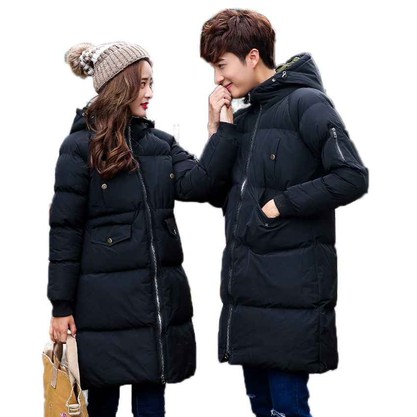 2017 New Lover Matching Wadded Jacket Men Parka Long Warm Thick Padded Coats Men Loose Hooded