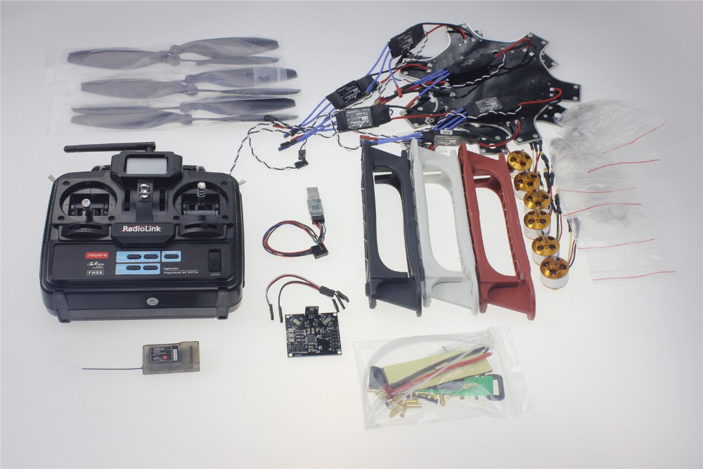 F550 Drone FlameWheel Kit With KK 2.3 HY ESC Motor Carbon Fiber Propellers + RadioLink 6CH TX RX F05114-S rtf full kit hmf y600 tricopter 3 axis copter hexacopter apm2 8 gps drone with motor esc at10 tx