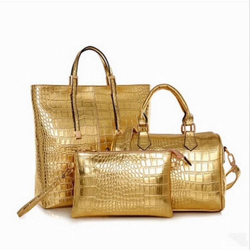 ФОТО 2017 New Leather Women Handbag Classic Shoulder Bags Ladies Vintage Messenger Bags Clutch Wallet Purse 3Pcs