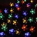 Muti color Solar Led Fiesta de Navidad Al Aire Libre Decoración De La Boda Linterna 50 Led Luces De Navidad Luces de Cadena de Flor de Durazno