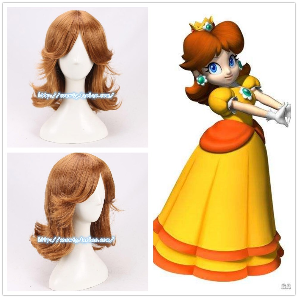 Game Super Mario Princess Daisy Wig Role Play Brown Wavy Hair Cosplay Costumes