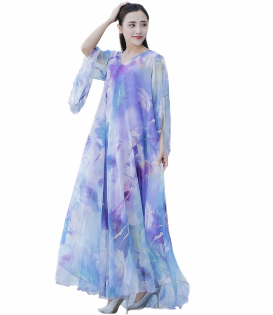 Summer Floral High Low Sleeves Chiffon Maxi Dress Gown Plus Sizes ...