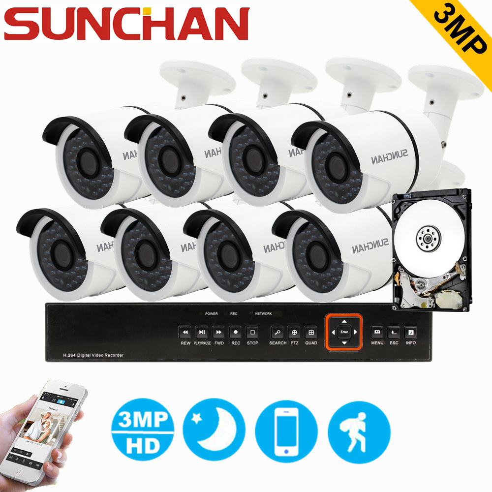 SUNCHAN 3MP TVI Hybrid 8CH DVR 8pcs 3.0MP 2048*1536 Bullet Security Camera Day/Night Outdoor Home Surveillance System with HDD bullet camera tube camera headset holder with varied size in diameter