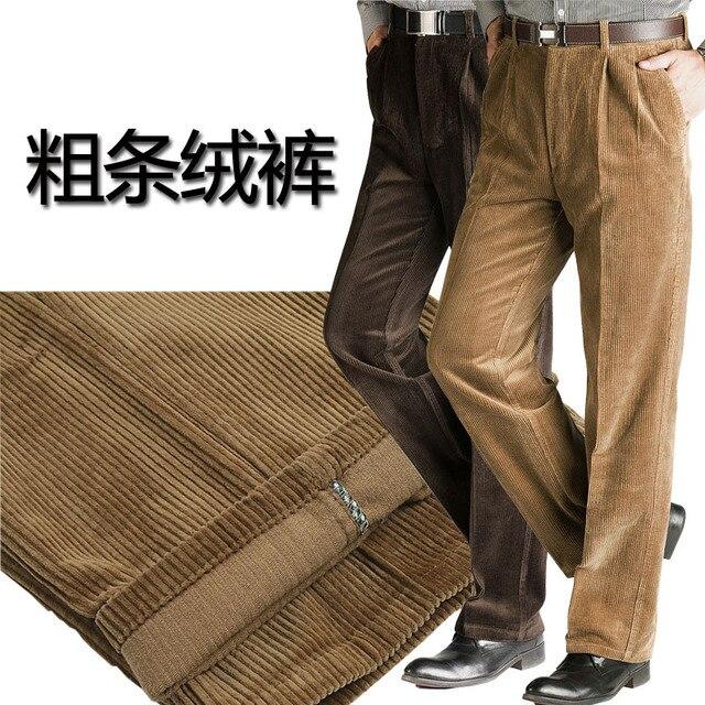 חדש הגעה גברים של עיבוי מכנסיים אופנה שמנים זכר כותנה קורדרוי מזדמן רופף גס בתוספת גודל 30 46