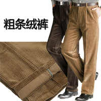 new arrival men's thickening trousers fashion obese male cotton corduroy casual loose coarse plus size 30-46
