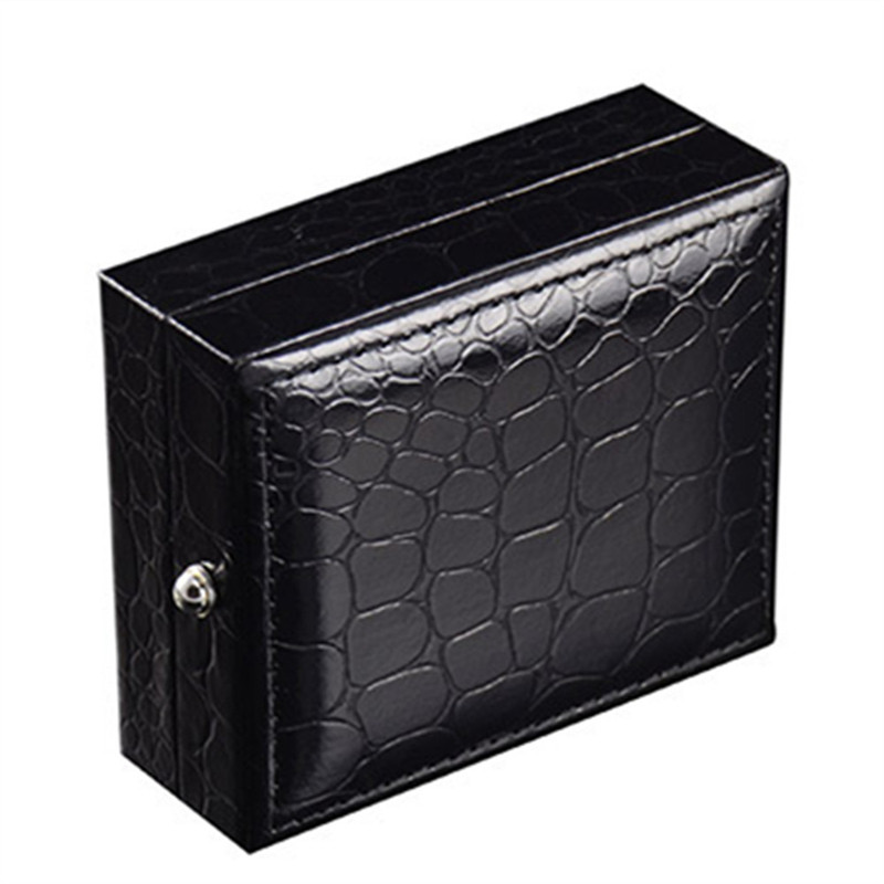 Julie Wang 1 PCS Black Faux Leather Cufflinks Box Gift Storage Case Cuff Box for Jewelry Birthday Party Gifts 84*67*30MM