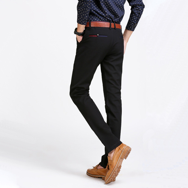 2016 new men's casual pants thin elastic pants male Slim black trousers fit pencil pants